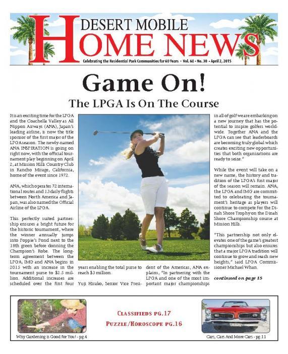 April 2, 2015 Desert Mobile Home News