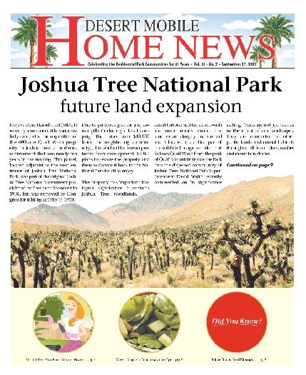 September 17, 2015 Desert Mobile Home News